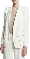 Halston Tuxedo Jacket w/ Notch Detail, White