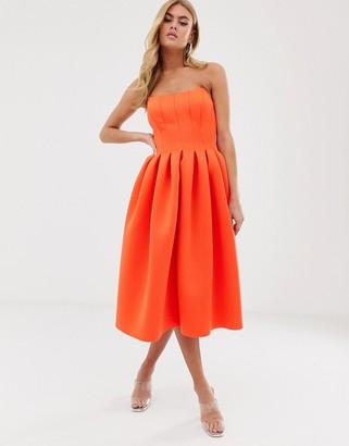 Asos Design DESIGN bandeau seam detail midi prom dress-Orange
