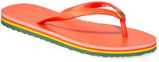 Tory Burch Striped Flat Thong Sandals