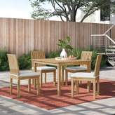 Anthony Logistics For Men Foundstone 5 Piece Teak Dining Set with Cushions Foundstone