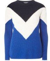 Dorothy Perkins Womens **Tall Chevron Colourblock jumper- Blue