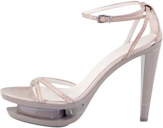 Jil Sander Grey Leather Ankle Strap Sandals Size 35