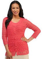 Liz Claiborne New York Hand Crochet V-neckCardigan w/Tank