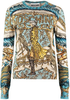 Moschino Printed Cotton Crew-neck Sweater