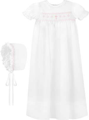 Carriage Boutique Smocked Christening Gown & Bonnet Set