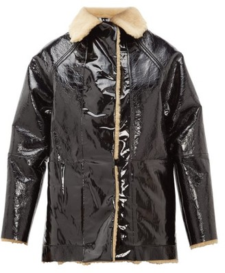 Kassl Editions Reversible Pvc And Shearling Jacket - Black Brown