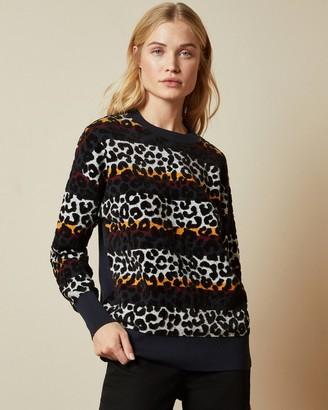 Ted Baker LUNIIAA Striped leopard print jumper