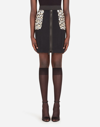 Dolce & Gabbana Cady Skirt With Leopard-Print Pockets