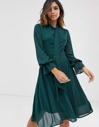 UNIQUE21 sheer neck tie long sleeve dress-Green
