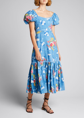 LoveShackFancy Salma Puff-Sleeve Cotton Dress