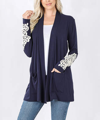 Lydiane Women's Open Cardigans NAVY - Navy Lace Sleeve-Accent Pocket Open Cardigan - Plus