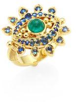 Temple St. Clair Evil Eye Lash Diamond, Blue Sapphire, Emerald & 18K Yellow Gold Ring