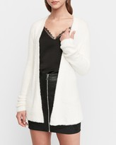 Express Fuzzy Faux Fur Belted Cardigan