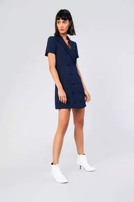 Glamorous Womens **Navy Button Front Blazer Dress By Navy Blue