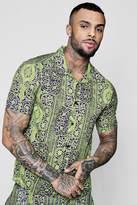 boohoo Chain Print Revere Collar Shirt Co-ord