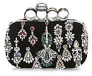 Alexander McQueen Women's Punk Four-Ring Jewelled Leather Box Clutch