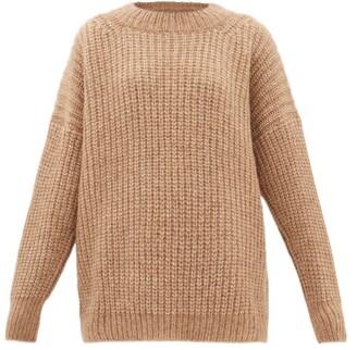 LAUREN MANOOGIAN Fisherwoman Dropped-sleeve Alpaca-blend Sweater - Womens - Camel