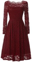 GlorySunshine Women's Long Sleeve Sexy Off Shoulder Elegant Lace A Line Casual Dress S