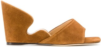 BY FAR Greta suede wedge sandals