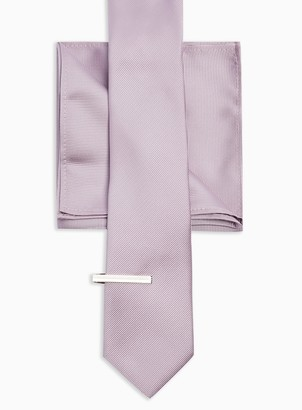 Topman 3 Lilac Tie, Clip and Pocket Square Multipack