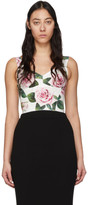 Dolce & Gabbana White and Pink Rose Print Bustier