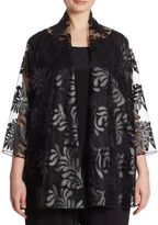 Caroline Rose Leaf Through Appliqued Cardigan