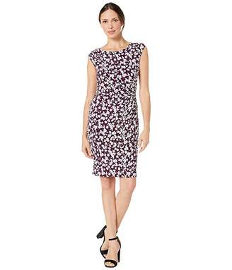 Lauren Ralph Lauren Printed Matte Jersey Roni Cap Sleeve Day Dress