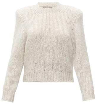 Isabel Marant Idona Padded-shoulder Mohair-blend Sweater - Womens - Light Grey