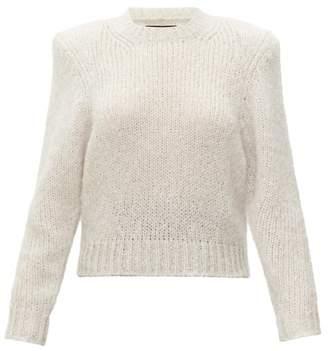 Isabel Marant Idona Padded Shoulder Wool Sweater - Womens - Light Grey