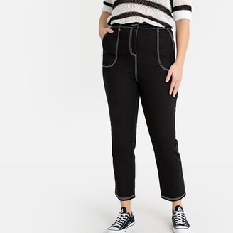 """Castaluna Plus Size Mom Jeans with Contrasting Topstitching, Length 27.5"""""""