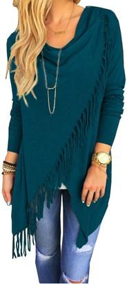 oboss Women's Tassels Irregular Hem Long Sleeve Knitted Jumper Waterfall Cardigan Poncho Cape Blanket Wrap Sweater Coat Tops (Dark Green Large)