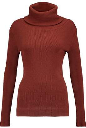 Enza Costa Ribbed Cotton And Cashmere-blend Turtleneck Top
