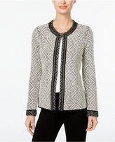 JM Collection Jacquard Flyaway Cardigan, Only at Macy's