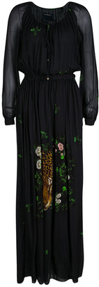 Roberto Cavalli Class by Black Leopard Figure Floral Print Long Sleeve Maxi Dress S