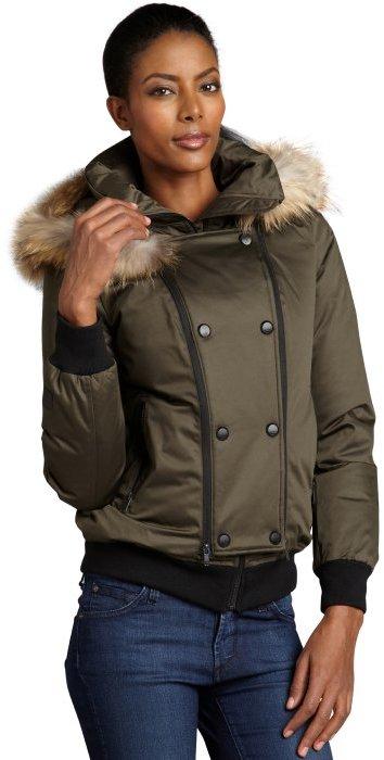 Soia & Kyo olive cotton-blend 'Maureen' fur trimmed hooded down jacket