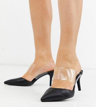 clear Simply Be Wide Fit Simply Be wide fit Lottie strap mule in black