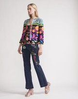 Cynthia Rowley Floral Tweed Fringe Jacket