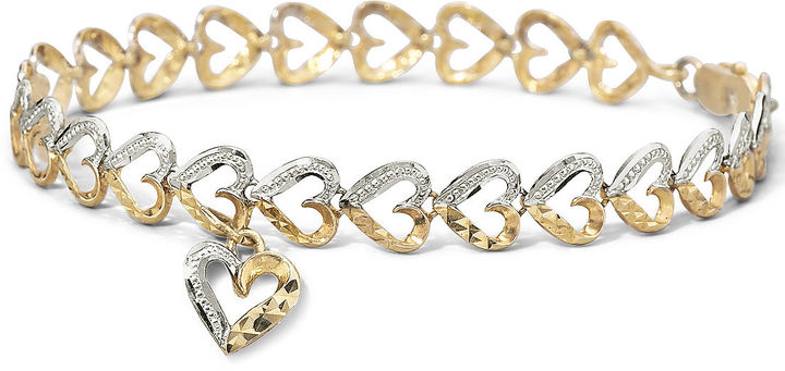 JCPenney FINE JEWELRY 10K Gold Two-Tone Heart Charm Bracelet