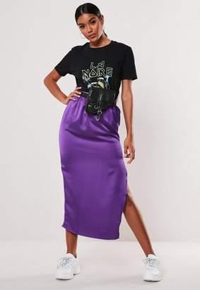 Missguided Purple Satin Slip Midi Skirt