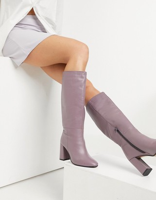 ASOS DESIGN Comet leather pull-on boots in lilac