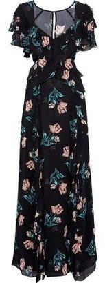 Nicholas Cutout Ruffled Floral-print Silk-chiffon Maxi Dress