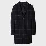 Paul Smith Men's Black Windowpane-Check Wool-Blend Overcoat