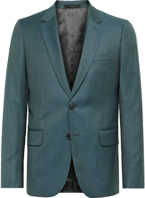 Paul Smith Teal Soho Slim-Fit Sharkskin Wool Suit Jacket - Men - Green