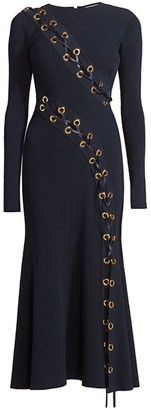 Alexander McQueen Lace-Up Rib-Knit Midi Dress