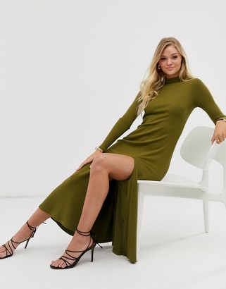 And other stories & high-neck thigh-split dress in khaki green