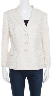 Dolce & Gabbana Cream Floral Jacquard Embellished Button Blazer L