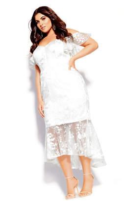 City Chic Lace Aflutter Dress - ivory