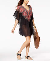 Miraclesuit Mandala Cotton Medallion-Print Embellished Sheer Caftan Cover-Up Women's Swimsuit