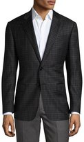 Giorgio Armani Windowpane Check Two-Button Sport Coat, Charcoal/Brown