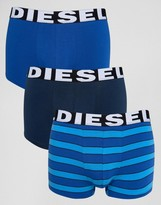 Diesel Stripe Trunks In 3 Pack Blue